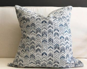 Pillow Cover, Blue Ikat Pillow Cover, BROOKLYN