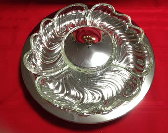 Kromex Lazy Susan Chrome Serving Tray with Crystal Dishes