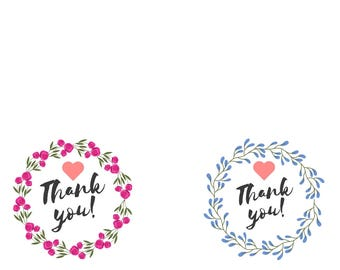 Printable Cards - Thank You, 8 unique designs, floral, botanical - print as many times as you need