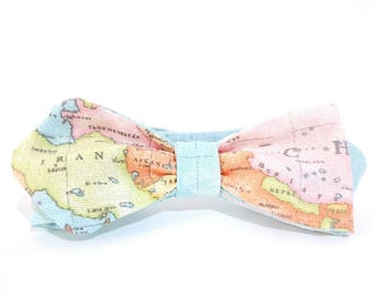 Men's Map Bowtie, Gift for Travel Enthusiasts, World Map Bow Tie, Gift for Map Lovers, Atlas Map, Wanderlust,  Geography Bowtie, Sailor made
