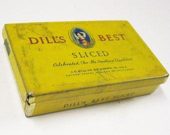 Vintage Tin Dill's Best Vintage Sliced Tobacco Tin Small Yellow Collectible Tin Tobacciana Craft Storage Craft Supply Vintage Memorabilia