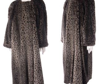 Sonia Rykiel Vintage 80s Grey Leopard Faux Fur Coat