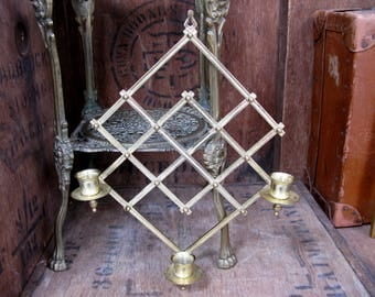 Brass Candle Sconce, Trellis Sconce, Candle Trellis, Wall Sconce, Candle Holder, Vintage Sconces, Gold Sconces, Gold Candlestick
