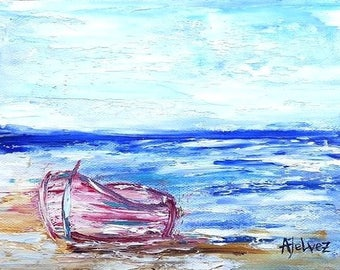 Boat painting Row boat art Seascape painting Beach art Original oil painting Small painting Beach painting Seascape oil painting Boat 6x8""