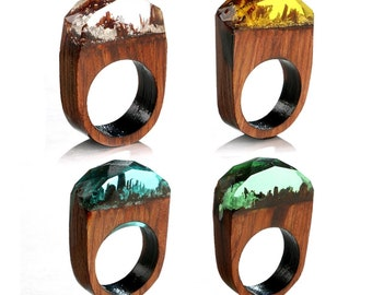 Heavenly glow,wood ring,secret world insid the  ring,wood resin,wooden rings for women,wooden rings for men,bright ring