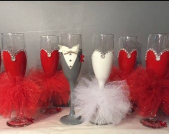 Bridal wine glasses any colors !