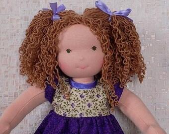 15 inch soft waldorf doll,  natural fabric doll, textile doll, rag doll, cloth doll