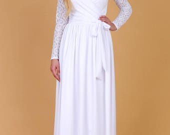 White Ball Wedding Maxi Dress Wrap Neck Long Lace Sleeves