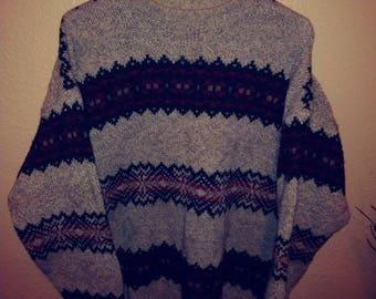 Large mens vintage Edie Bauer wool blend sweater 90s fashion staple