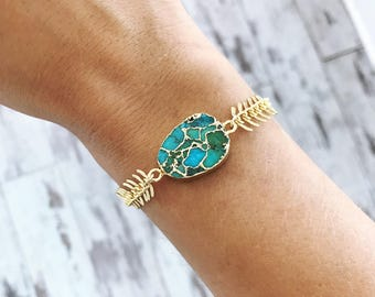 Turquoise Fishbone Bracelet, adjustable bracelet, gold bracelet, chevron, geometric