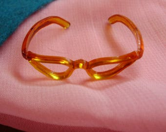 """Vintage 50's *AMBER CATEYE GLASSES* For Ginny, Jill, Ginger, Little Miss Revlon  -8"""" or 10"""" Doll Accessories"""