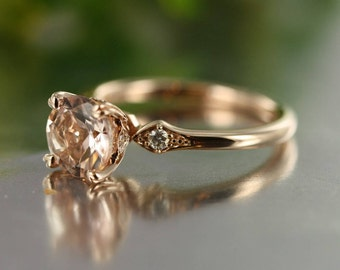Unity-VS Diamond Round Morganite in 14K Rose Gold Morganite Engagement Ring 7MM Peach ColorGemstone