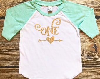 First Birthday Shirt Baby Girl Gold Glitter Birthday Outfit Infant Girls Gold Sparkle Top One Year Old 1st Birthday Shirt Glitter Tee Mint
