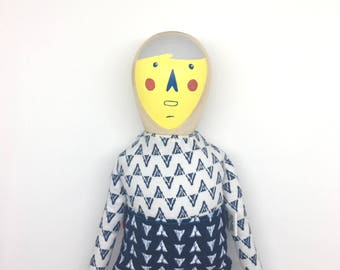 Wood and Fabric doll - Funny Nose