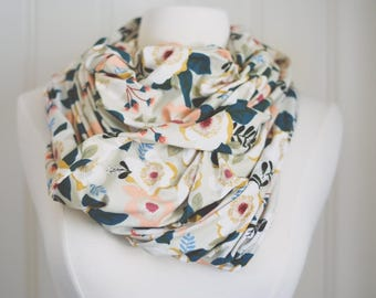 Floral Infinity Scarf | Jersey Knit | Double Wrap | Handmade | Circle Scarf | Summer Scarf | Lightweight | Soft