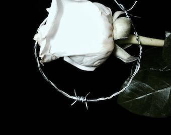 Silver Barbed Wire Hoop Earrings, large