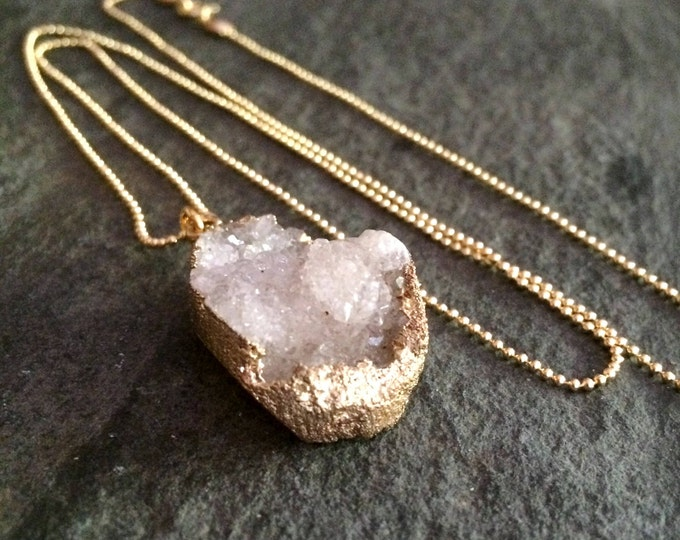 Long 18K Gold Fill white Druzy necklace