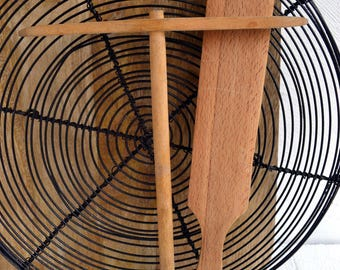 2 Vintage French Kitchen Wood Crêpes/Galettes/Pancakes Breton Tools Old Utensils Wooden