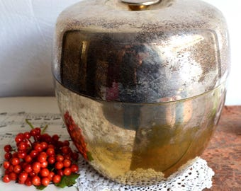 Retro 1960s Silver Plate Ice Bucket Insulated Brass Bar Cooler with Lid Vintage Barware