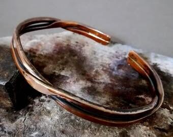 Men's Copper Bracelet ,handmade Copper Bracelet, Twisted Double Bar Men's Patina Copper Bracelet, 7th Anniversary Gift .