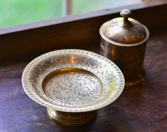 BOHEMIAN BRASS DISH, Bohemian decor, brass bowl, incense burner, smudge bowl, India brass, incense bowl, boho decor