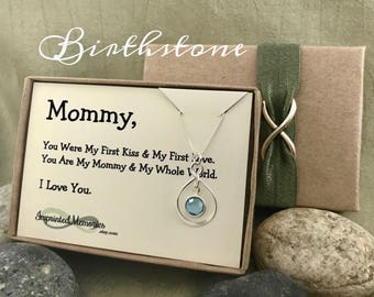 Baby's First Birthday gift for New Mom Necklace - Birthday gift for Wife - First Child Birthstone Necklace First Time MOM Birthday 2017