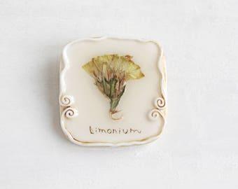 Limonium Brooch, Romantic Brooch, Real Flower Brooch, Rustic Jewelry, Gentle Brooch, Real Flower Jewelry, Vintage Brooch, Flower Brooch