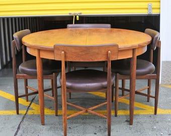 Four Dark Brown Vinyl G Plan Fresco Dining Chairs U0026 Extending Table In Teak  Veneer With