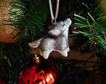 Metallic Silver Wolf Ornament