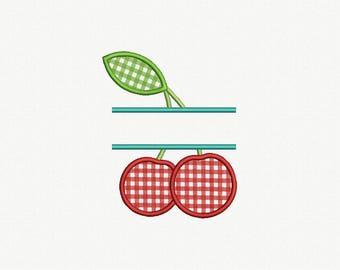 Split Cherry  Applique Machine Embroidery Design - 1 Size