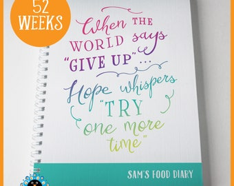 Slimming World Food Diary, SW compatible. Personalised food tracker, weight-loss food diary. 'Try One More Time'. 52 weeks.