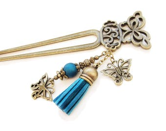 Metal butterfly hair fork with blue suede tassel, blue bead, japanese kanzashi, chopstick hair piece pin hair stick, decoration ornament pin