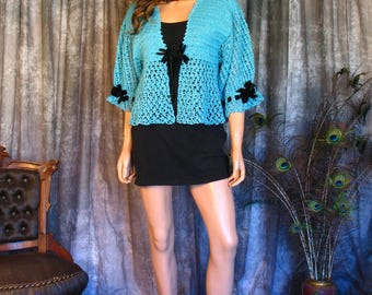 Vintage 1940s Turquoise Crochet Bed Jacket / Vintage 40s Crochet Top / Black Velvet Bow Accents and Silver Metallic Thread