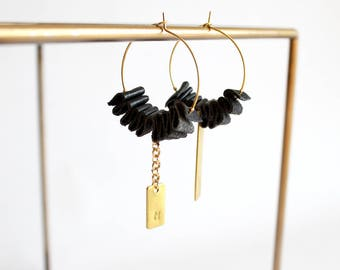 Initial earrings /Hoop earrings/Black leather earrings/Monogram earrings/Personalized gift/Letter earrings/Gift fot her/Valentines gift