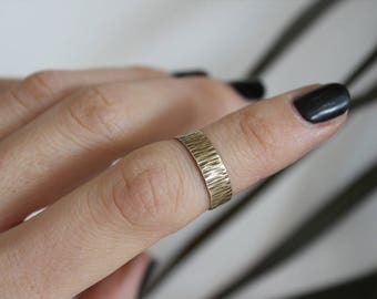 Gold Wide band/ Ancient ring/ Hammered ring / Oxidized brass / Rustic ring / Boho jewelry