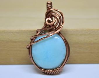 Larimar Wire Wrapped Pendant / Antique Copper