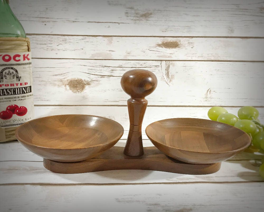 Wooden nut bowls double sided wood candy dishes