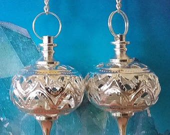 2 Large Antique Filigree Design COPPER, SILVER or Gold Dowsing PENDULUMS with Chains and 2 Storage Pouches, Divination Wand