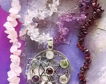 Handmade Sacred Geometry Silver FLOWER Of LIFE 24 Inch Crystal PENDANT Necklace, Amethyst, Ruby Garnet, Rose Quartz and Crystal Necklace