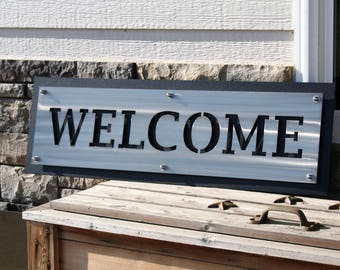 Wide Layered Stainless WELCOME Sign, entryway welcome, indoor outdoor, welcome to our home, outdoor welcome sign, metal welcome sign