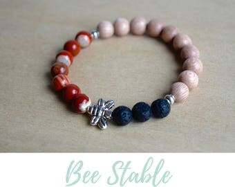 Red Jasper Bracelet / bee jewelry gift, grounding jewelry, jasper yoga bracelet, sacral chakra, silver bee bracelet, root chakra crystal