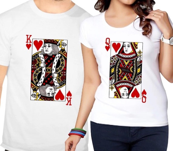 King And Queen Of Hearts T-shirt/family Matching Cards