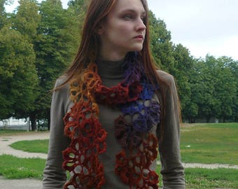 Spring accessories Lariat scarf Brown Blue crochet scarf Neck warmer Colorful Multicolor Gradient wool lace scarf Eco wool scarf Wool wrap