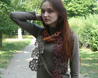 Crochet scarf Knitted neckwarmer Lariat scarf colorful neckwarmer Knitted scarf Eco wool crochet wrap knit gift ideas