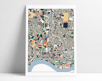 Cincinnati Map, Cincinnati OH, Cincinnati Art, Cincinnati Print, Cincinnati Map Poster, Cincinnati, Map Print, Wall Art, Abstract Art, OH