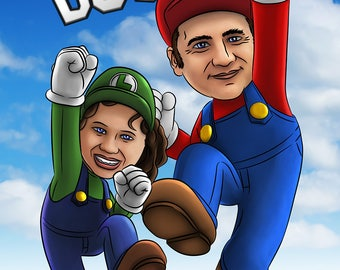 Mario Brothers Custom Portrait / video game portrait / Nintendo / Family / Bespoke Illustration / Sega / Atari / PS4 / Xbox