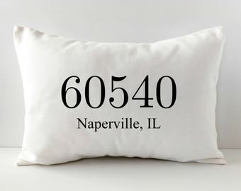Personalized Pillow Cover - Zip Code Pillow - Decorative Throw Pillow Cover - Housewarming Gift