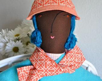 Doll accessory, doll hat, doll clothes, handmade, felt, doll hat and scarf set, orange