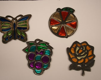 4 Vintage Enesco Imports Stained Glass Steel Kitchen Trivets: Butterfly, Flower, Fruit, Grapes , Citrus