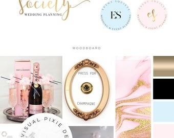 Branding Package Diamond Rings Event Planner Logo - Wedding Planner Logo -  Wedding Photography Logo - Business Logo Gold - Ring Logo Design